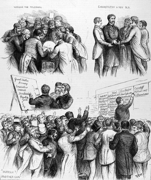 Series of sketches from the front cover of the ILN, July 17th, 1886 illustrating activity at a London club on the day of a General Election in 1886. The top right scene shows men crowded around a telegraph machine waiting for news of results
