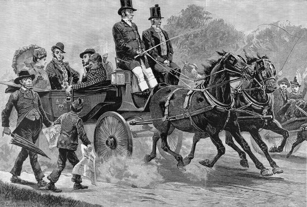 Engraving by R.Caton Woodville showing people occupying horse-drawn carriages making their way to the poll to vote