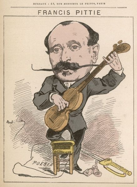 General Francis Pittie (born 1829) chief of the Elysee Military Cabinet and an officer of culture who produced a novel, a volume of verse, and numerous review articles. Judging by the caricature he may also have been a musician too