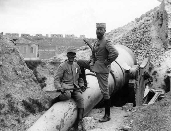 General Henri Gouraud (1867-1946) (right) of the French Army Corps and General Maurice Camille Bailloud (1847-1921) (left) of the French Army 2nd Division, with a wrecked gun in the ruined Old Fort at Sedd el Bahr on the Gallipoli peninsula