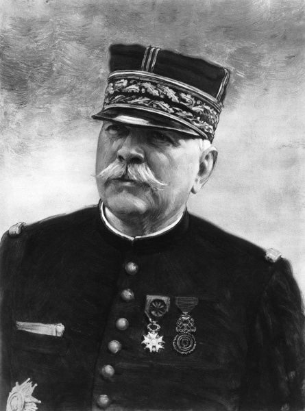 Portrait of Joseph Jacques Cesaire Joffre (1852-1931), Commander-in-Chief of the French Army. Joffre planned the victory in the Battle of the Marne in 1914 but resigned after the French failure at Verdun in 1916