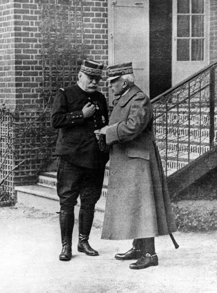 General Joseph Joffre (1852-1931) (left), Commander of the French Army during the first half of the First World War, seen here (left) with General Luigi Cadorna (1850-1928), Italian Field Marshal, chief of staff of the Italian army
