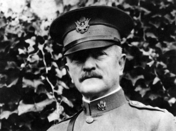 "General John Joseph ""Black Jack"" Pershing (1860-1948), American army officer who led the American Expeditionary Forces during the first World War. Date: circa 1917-1918"