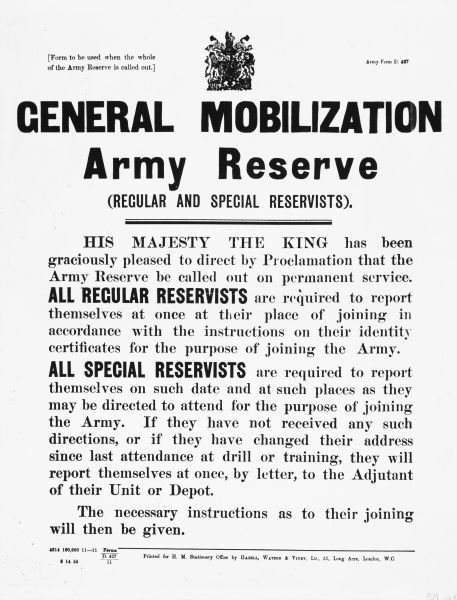 Royal proclaimation from George V, calling up reserve soldiers to permanent service