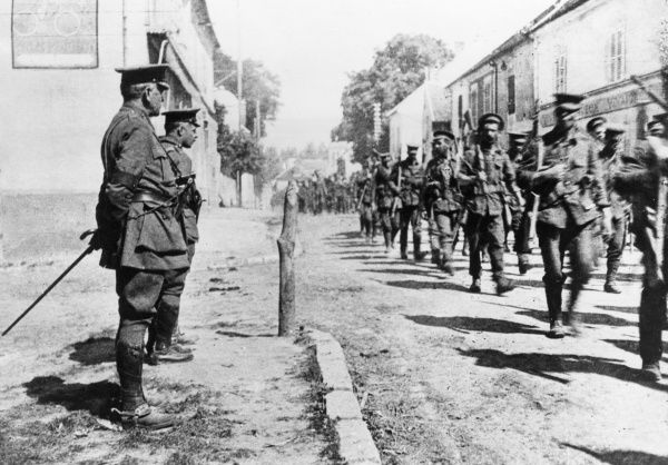 General Sir Charles Carmichael Monro (1860-1929) and Colonel Neill Malcolm (1869-19??), British Army officers, inspecting troops of the Second Division on the Western Front during the First World War. Date: 1914