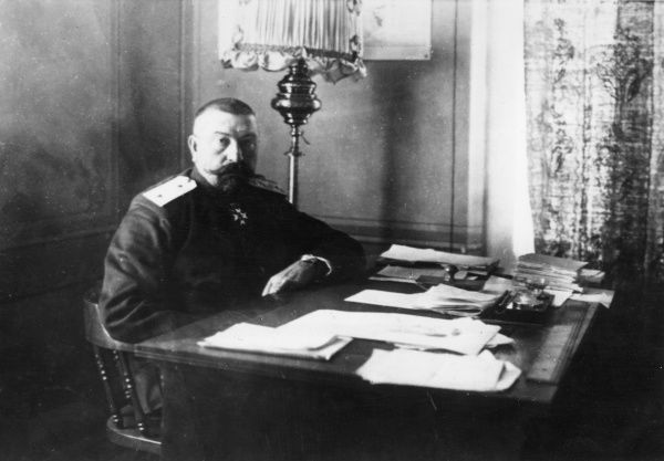 General Racho Petrov Stoyanov (1861-1942), Bulgarian army officer and politician. Seen here at his desk while serving as Governor of Macedonia. He was Chief of the 4th Army during the First World War, and was twice Prime Minister of Bulgaria