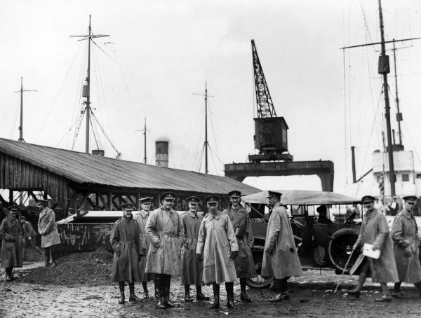 General Sir Henry Rawlinson (1864-1925) (left) and Field Marshal William Edmund Ironside (1880-1959) (right), British army officers, seen here with others on the quay at Archangel (Arkhangelsk), Russia. They were taking part in the North Russia Intervention