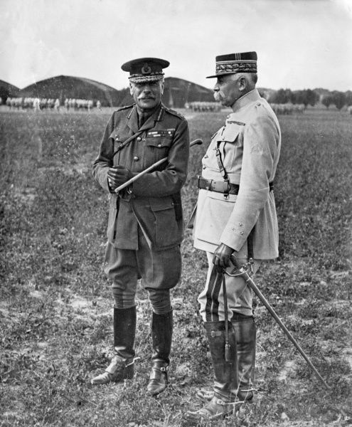 General Sir Douglas Haig (1861-1928), British army officer during the First World War. Seen here with an unnamed French general in northern France. Date: 1914-1918