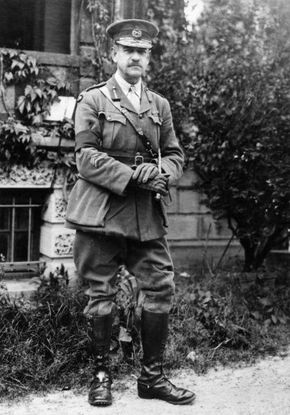 General Sir John Monash (1865-1931), officer of the Australian 3rd Division, seen here at his headquarters in Glisy, Villers-Bretonneux, northern France, towards the end of the First World War. Date: 25 May 1918