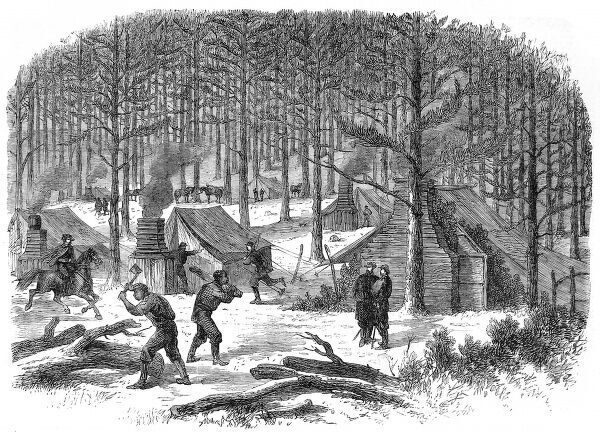 Illustration showing General Stuart's headquarters on the Rapidan River; a thickly wooded scene, with soldiers cutting down trees and chopping logs. At this time the Confederate army was attempting to push into Pennsylvania