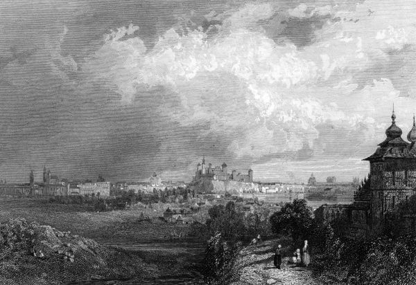 (or Cracow) - seen from the cote du Tertre-Kosciusko : Krakow was at this time the capital of the Polish Republic. Date: circa 1850