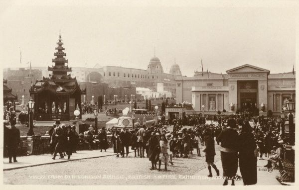 General view of the British Empire Exhibition, held at Wembley between April and October 1924, seen from Old London Bridge. Date: 1924