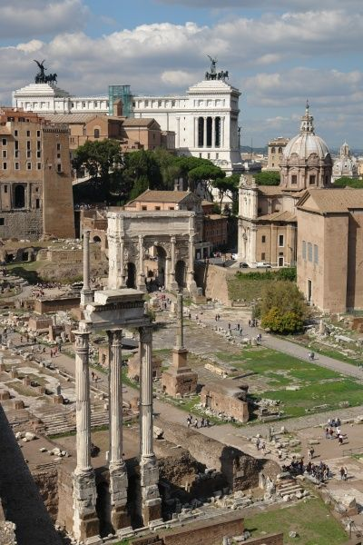 General view of the Roman Forum, or Forum Romanum, in Rome, Italy