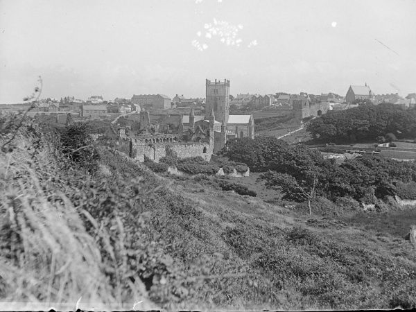 General view of St David's, Pembrokeshire, Dyfed, South Wales, with the Cathedral at the centre