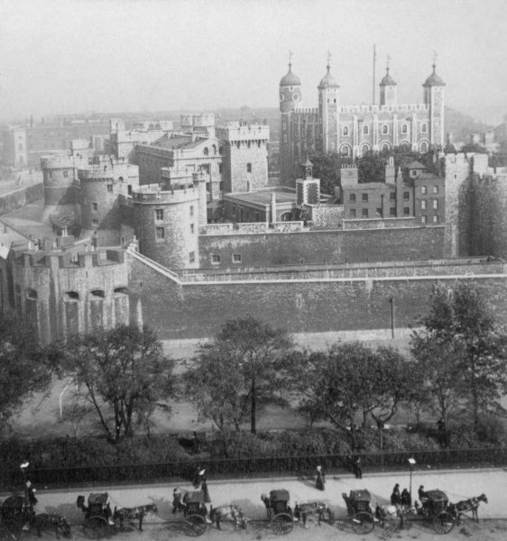 A general view of the Tower of London, built by William the Conqueror in 1078 to protect the City of London