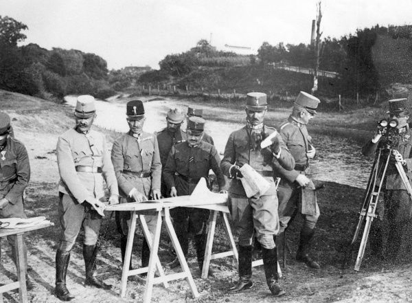 General Eduard von Boehm-Ermolli (1856 1941), Austrian general during World War One, rose to rank of Field Marshal in the Austro-Hungarian army. (Standing centrally behind the map table.) Here in July 1917 on the Eastern Front in a region of Poland