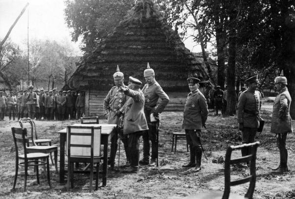 General Albert Theodor Otto von Emmich (1848-1915), commander of the 10th (Prussian) Army Corps, seen here on the Russian Front with Kaiser Franz Josef I (Emperor of Austria) and others.  September 1915