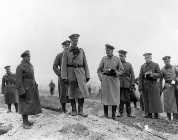 General von Hulsen (possibly Walter von Hulsen, 1863-1947), German army officer, with members of his staff on the Western Front, France, during the First World War. Date: 1914-1918