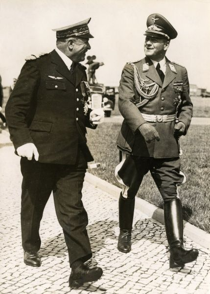 General Joseph Vuillemin (1883-1963), Chief of Staff of the French Air Force, seen here (left) with General Erhard Milch (1892-1972), German Field Marshal with responsibility for the development of the Luftwaffe, at Berlin-Staaken Aerodrome