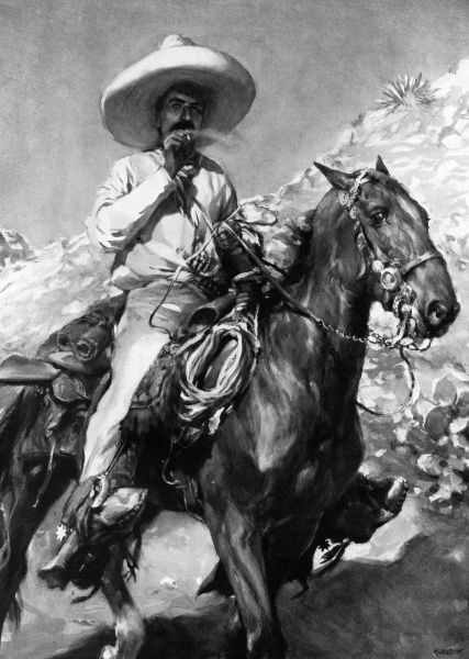 Mexican rebel and revolutionary hero, Emiliano Zapata (1879-1919), whose followers, known as Zapatistas, fought for the restoration of lands taken from the people by ex-President Diaz. Their motto was 'Land and Liberty'. Date: 1913