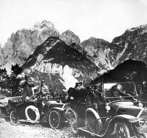 General Joseph Joffre, Commander of the French Army during the first half of the First World War, seen here with Italian generals Cadorna and Porro, riding in two Fiat Zero cars on the Alpi Carniche in northern Italy. Date: 1915
