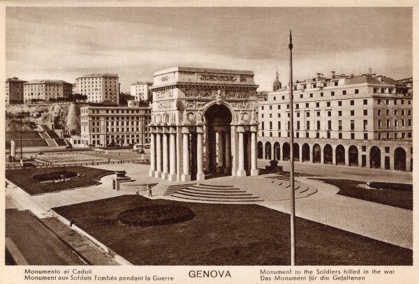 Genoa, Italy - War memorial, Palace of Victory, designed by Placentini. Date: circa 1920s