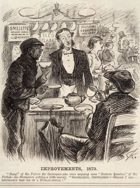 The genteelism of the English pub... Date: 1878