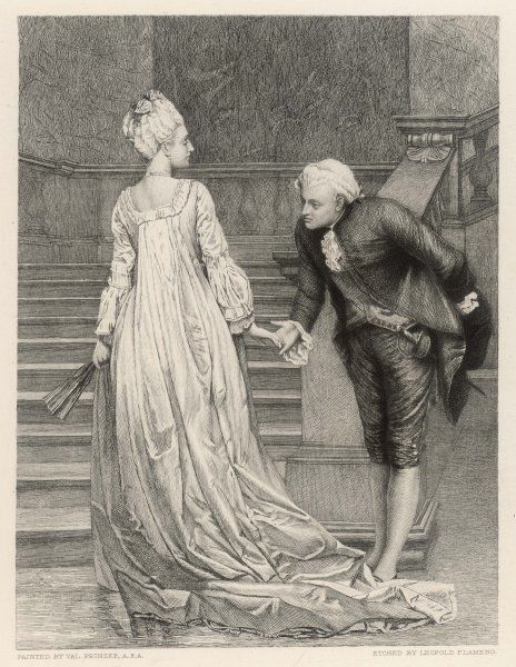 A gentleman bows as he shakes a lady's hand as he takes his leave of her