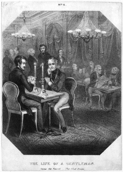 Two gentlemen enjoy a game of cards in their club, with a wager on the outcome