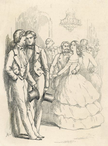 Two young men whispering about an attractive girl who is on the dance floor with a bearded gentleman who has his hand around her waist