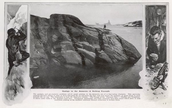 "A photograph from Charcot's ""The Voyage of the Pourquoi Pas"" showing a striking example of bare rock in the Graham Land area of the Antarctic. The picture is flanked either side with illustrations of a geologist at work, breaking rocks"