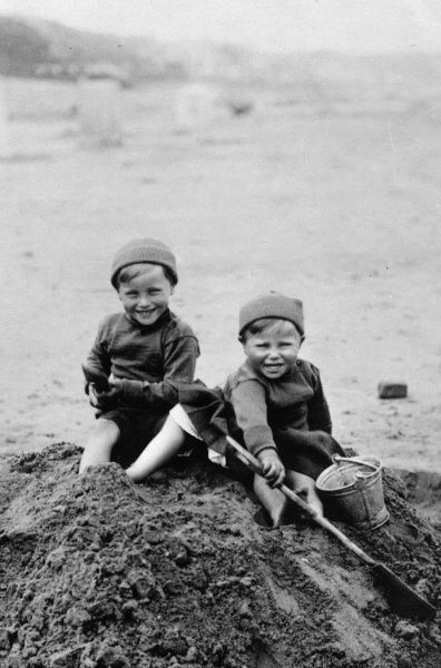 The grandsons of Princess Alice, George Donatus, Hereditary Grand Duke of Hesse (1906-1937) seen on the left, and Ludwig (1908-1968) playing in the sand on the beach in 1910. Georg Donatus and Ludwig were the sons of Ernst Ludwig, Grand Duke of Hesse