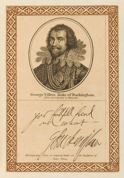 GEORGE VILLIERS, duke of BUCKINGHAM statesman, favourite of James I, assassinated. with his autograph