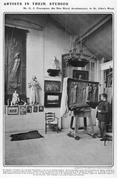 Sir George James Frampton RA (1860 - 1928), sculptor and craftsman, pictured in his studio in St