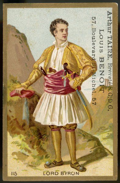 GEORGE GORDON,LORD BYRON poet, depicted here in his costume as a Greek patriot