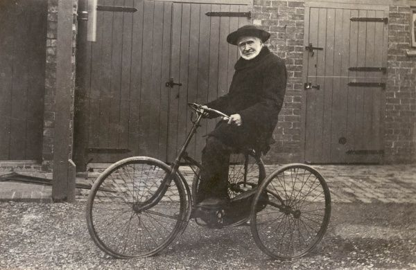 Mr George Skinner, an elderly tricyclist. At the age of 92 he is still getting out and about, and has been re-elected Vicar's Warden of St Mary's Parish Church, Rushden, Northamptonshire
