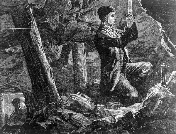 Illustration of George Stephenson (1781-1848) experimenting with his safety lamp in a mine