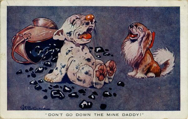 Bonzo sitting by a coal scuttle with Chee-Kee. Don't go down the mine daddy Date: circa 1940