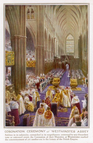 GEORGE V and MARY are crowned in Westminster Abbey, London