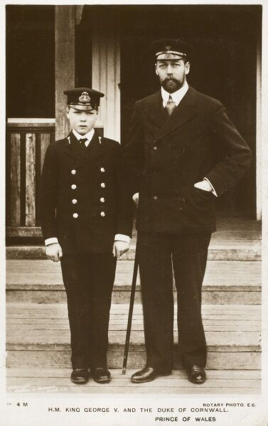 King George V (1865 - 1936) and the Duke of Cornwall, Prince of Wales, Edward (future Edward VIII) in his naval cadets uniform