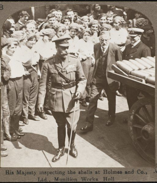 King George V inspecting the shells at Holmes and Co. munition works, Hull