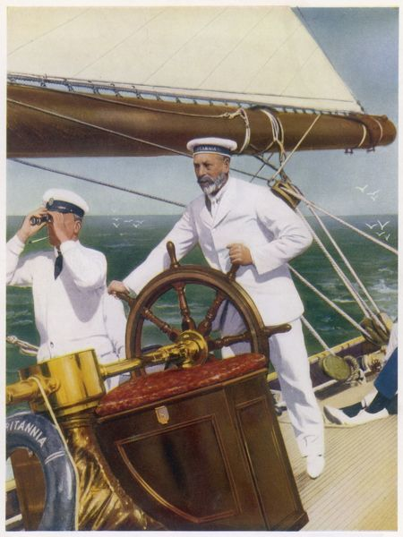 At the helm is the yacht's owner, king George V, a keen sailor who in his early days commanded a torpedo boat