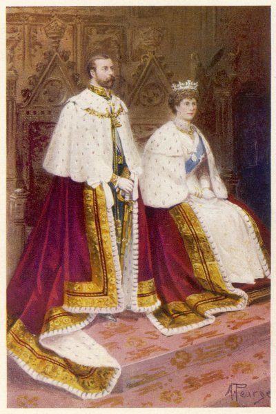 GEORGE V with MARY in the House of Lords