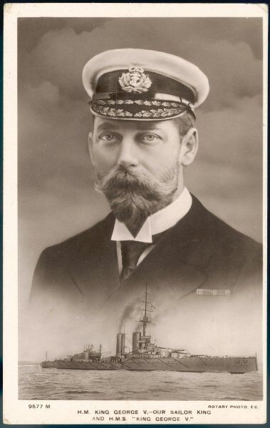"GEORGE V ""Our Sailor King"", with a picture of the battleship HMS King George V below"