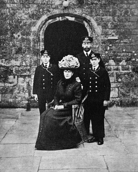Portrait of George V, Queen Mary and their two eldest sons, Prince Edward (later Edward VIII) and Prince Albert (later George VI) in cadet uniform. Taken at Barton Manor, Osborne