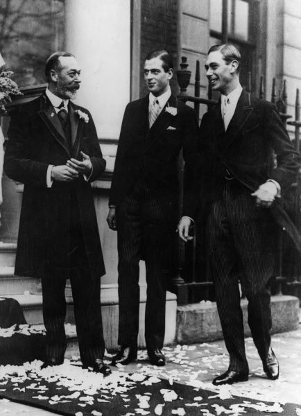Informal photograph of King George V pictured with two of his sons, Prince George (centre), later Duke of Kent and Prince Albert, later King George VI, all at the wedding of Princess Maud of Fife, the King's niece