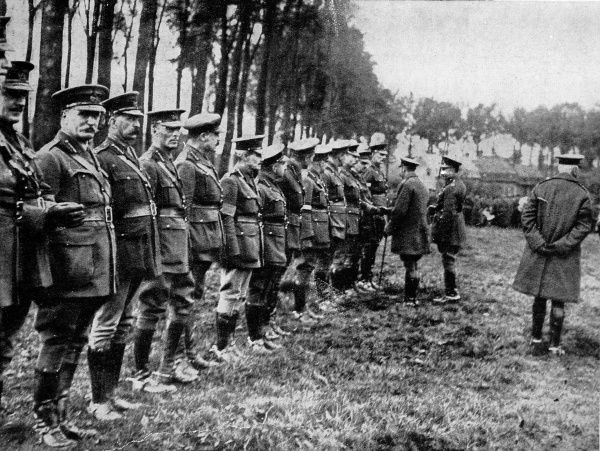 George V speaking to Canadian officers during his visit to France in October 1915