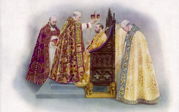 GEORGE V He is crowned by the Archbishop of Canterbury in Westminster Abbey