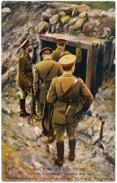 George V visiting a captured German dug-out during the First World War