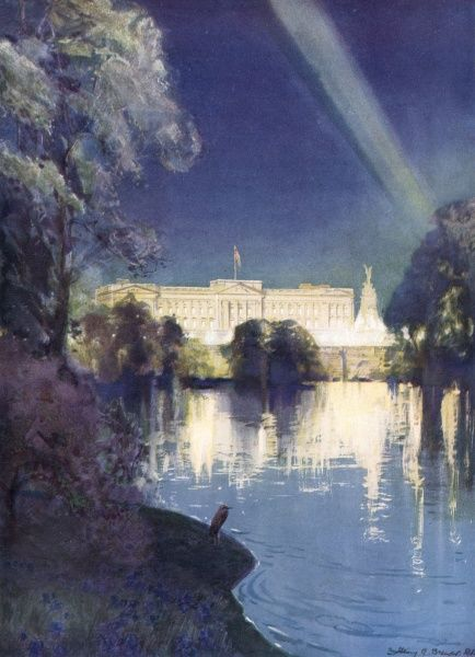 CORONATION Buckingham Palace floodlit in honour of the Coronation: scene from St James's Park Date: 1937